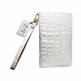 White Caiman Crocodile Natural Leather Cell Phone Case